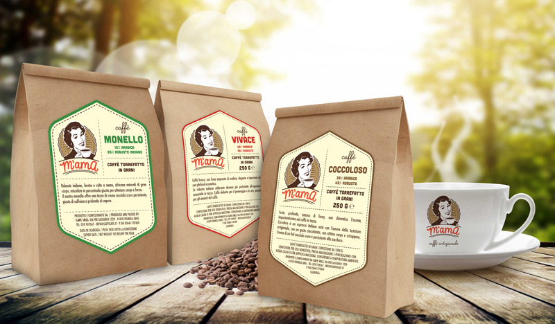 m'ama caffè in grani packaging