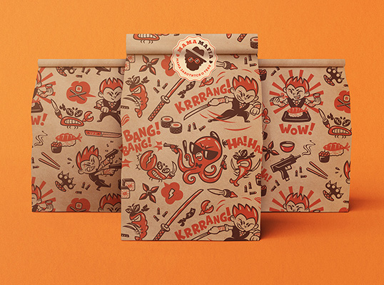 Food packaging con illustrazioni