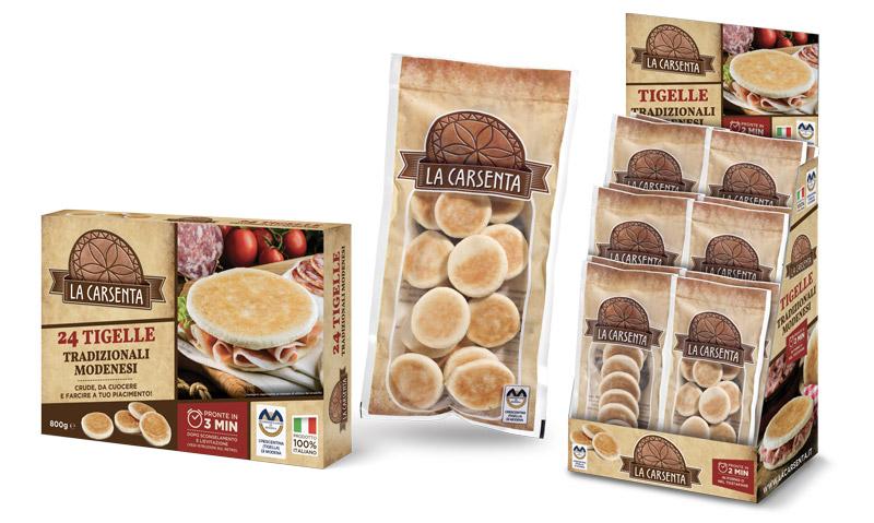 Packaging prodotti tradizionali emiliani tigelle